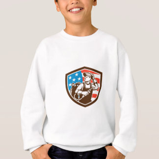 Welder Looking Side USA Flag Crest Retro Sweatshirt