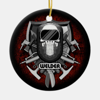 Welder Skull Ceramic Ornament