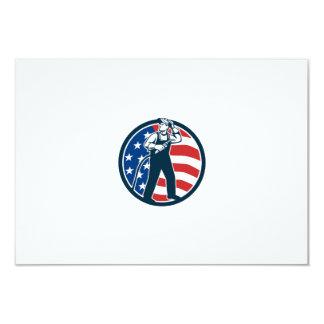 "Welder Standing Visor Up USA Flag Circle Retro 3.5"" X 5"" Invitation Card"
