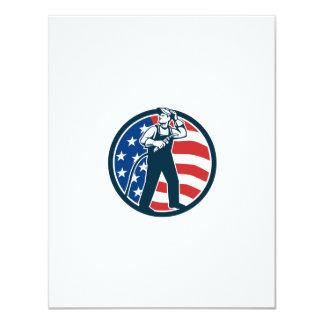 "Welder Standing Visor Up USA Flag Circle Retro 4.25"" X 5.5"" Invitation Card"
