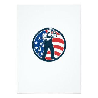 "Welder Standing Visor Up USA Flag Circle Retro 4.5"" X 6.25"" Invitation Card"