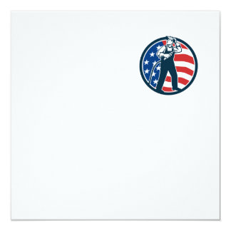 "Welder Standing Visor Up USA Flag Circle Retro 5.25"" Square Invitation Card"