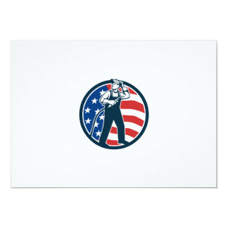 "Welder Standing Visor Up USA Flag Circle Retro 5"" X 7"" Invitation Card"