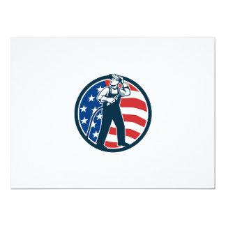 "Welder Standing Visor Up USA Flag Circle Retro 6.5"" X 8.75"" Invitation Card"