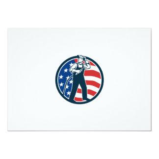 Welder Standing Visor Up USA Flag Circle Retro Card