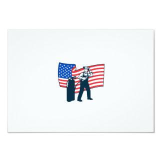 "Welder Standing Visor Up USA Flag Wavy Retro 3.5"" X 5"" Invitation Card"