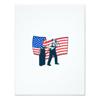 "Welder Standing Visor Up USA Flag Wavy Retro 4.25"" X 5.5"" Invitation Card"
