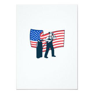 "Welder Standing Visor Up USA Flag Wavy Retro 4.5"" X 6.25"" Invitation Card"