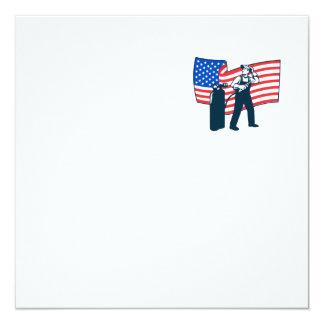 "Welder Standing Visor Up USA Flag Wavy Retro 5.25"" Square Invitation Card"