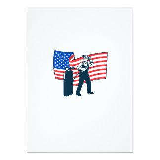 "Welder Standing Visor Up USA Flag Wavy Retro 5.5"" X 7.5"" Invitation Card"