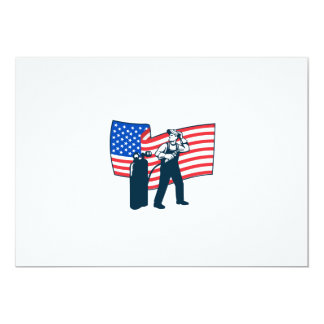 "Welder Standing Visor Up USA Flag Wavy Retro 5"" X 7"" Invitation Card"