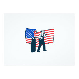 "Welder Standing Visor Up USA Flag Wavy Retro 6.5"" X 8.75"" Invitation Card"