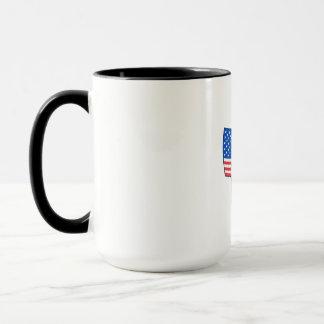 Welder Standing Visor Up USA Flag Wavy Retro Mug