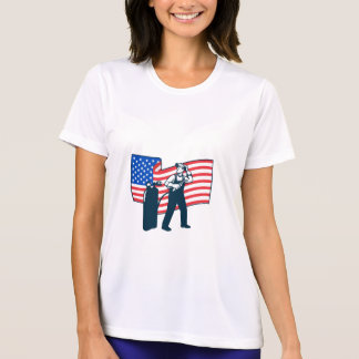 Welder Standing Visor Up USA Flag Wavy Retro T-Shirt