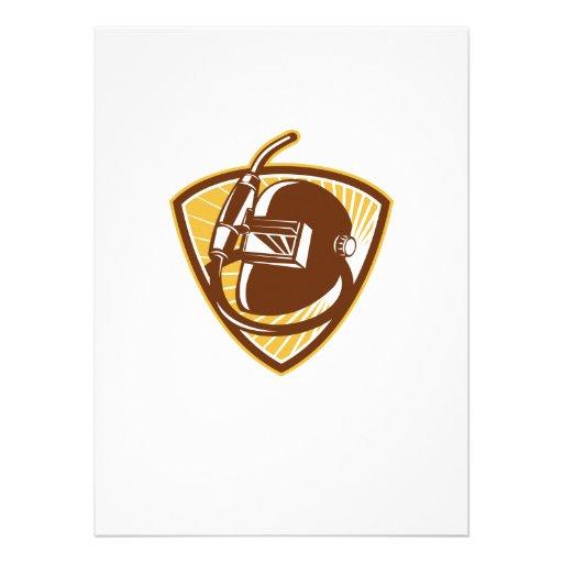 Welder Visor And Welding Torch Retro Shield Personalized Invitations