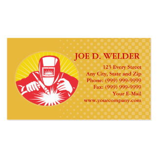 welder welding at work business card