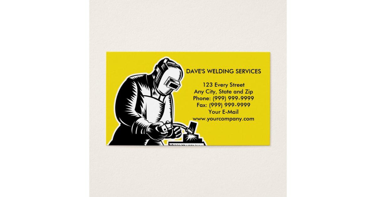 Welder welding businesscard business card zazzleca for Welder business cards