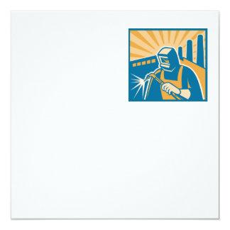 "Welder Welding Factory Retro Woodcut 5.25"" Square Invitation Card"