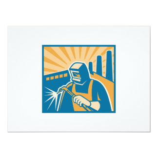 "Welder Welding Factory Retro Woodcut 6.5"" X 8.75"" Invitation Card"