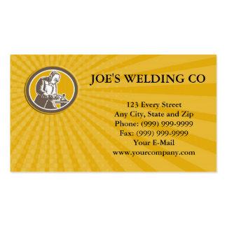 Welder Welding Side Woodcut Oval Retro Business ca Business Card Template