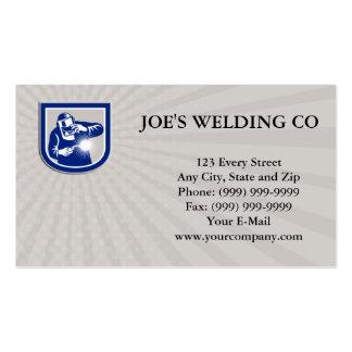 Welder Welding Torch Front Shield Retro Business c Business Card