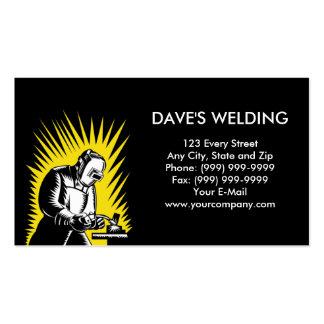 welder welding woodcut business card templates