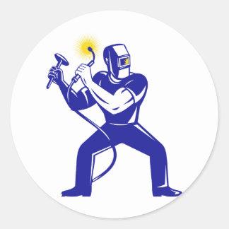 welder welding  worker cartoon classic round sticker