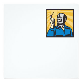 "Welder With Welding Torch Visor Retro 5.25"" Square Invitation Card"