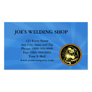 Welder With Welding Torch Visor Retro Business Card Templates
