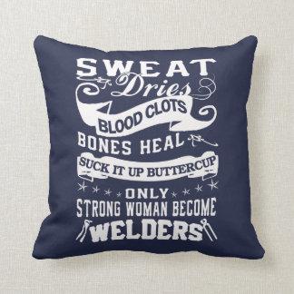 Welder Woman Throw Pillow