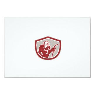 """Welder Worker Holding Welding Torch Shield Retro 3.5"""" X 5"""" Invitation Card"""