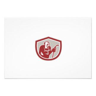 Welder Worker Holding Welding Torch Shield Retro Custom Announcement
