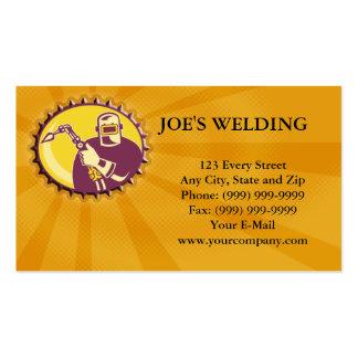 Welder Worker Welding Torch Retro Business Card