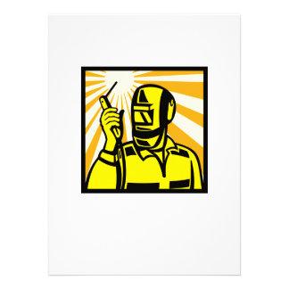 Welder Worker Welding Torch Retro Personalized Announcements