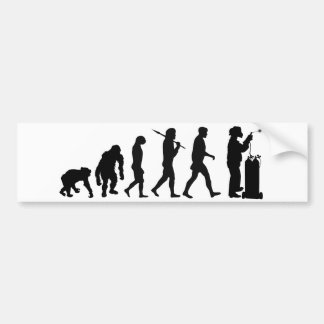 Welding evolution of man mens work bumper sticker