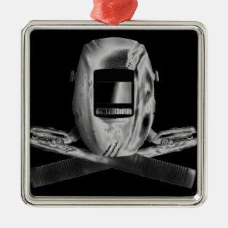 Welding Hood and Cross Stingers Metal Ornament