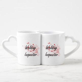 Welding Inspector Artistic Job Design with Hearts Lovers Mug Sets