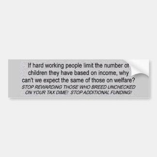 Welfare Funding Bumper Sticker