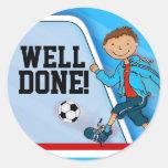 Well done! boys blue football soccer sticker