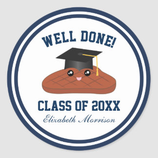 Well Done Class of 2017 Graduation Party Favors Round Sticker