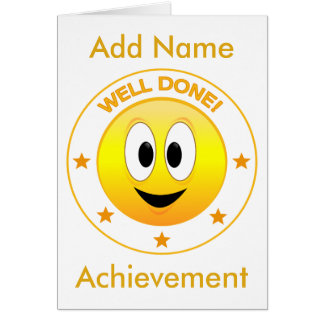 Well Done Happy Smiley Face Personalized Card
