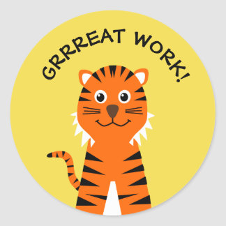 Well done tiger teachers yellow classic round sticker