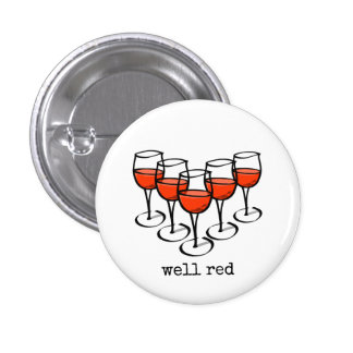 Well Red Wine Glasses 1 Inch Round Button