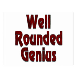 Well Rounded Genius Red Postcard