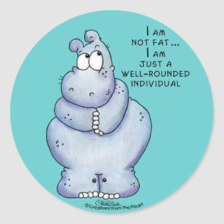 Well-Rounded Hippo-Blue Hippopotamus Round Sticker