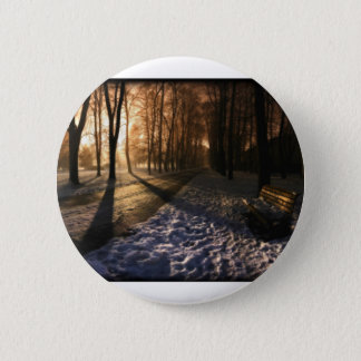 Well Traveled Snow Covered Path 2 Inch Round Button
