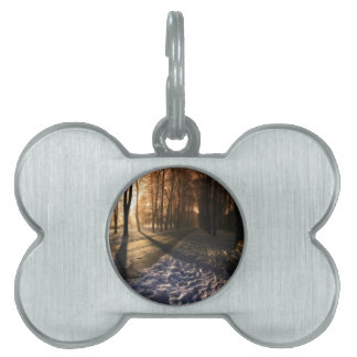 Well Traveled Snow Covered Path Pet Name Tag