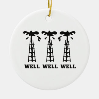 Well Well Well Round Ceramic Ornament