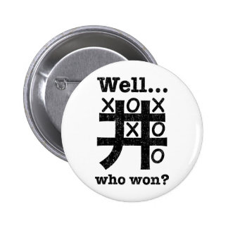 Well...who won? in black distressed 2 inch round button
