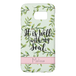 Well With My Soul Green Leaves Quote Phone Case